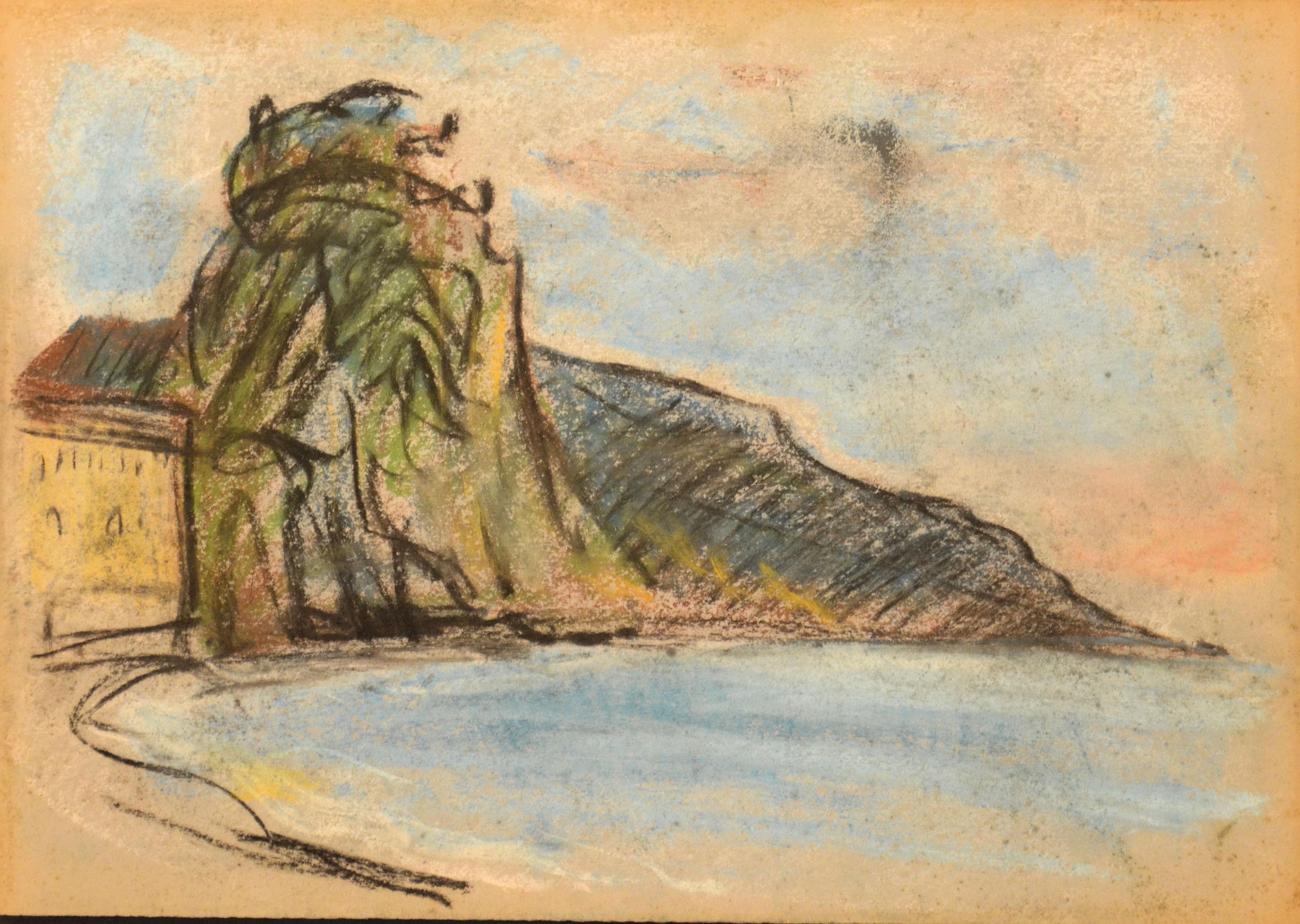 10. Paesaggio anni 60 pastello su carta cm 45x30