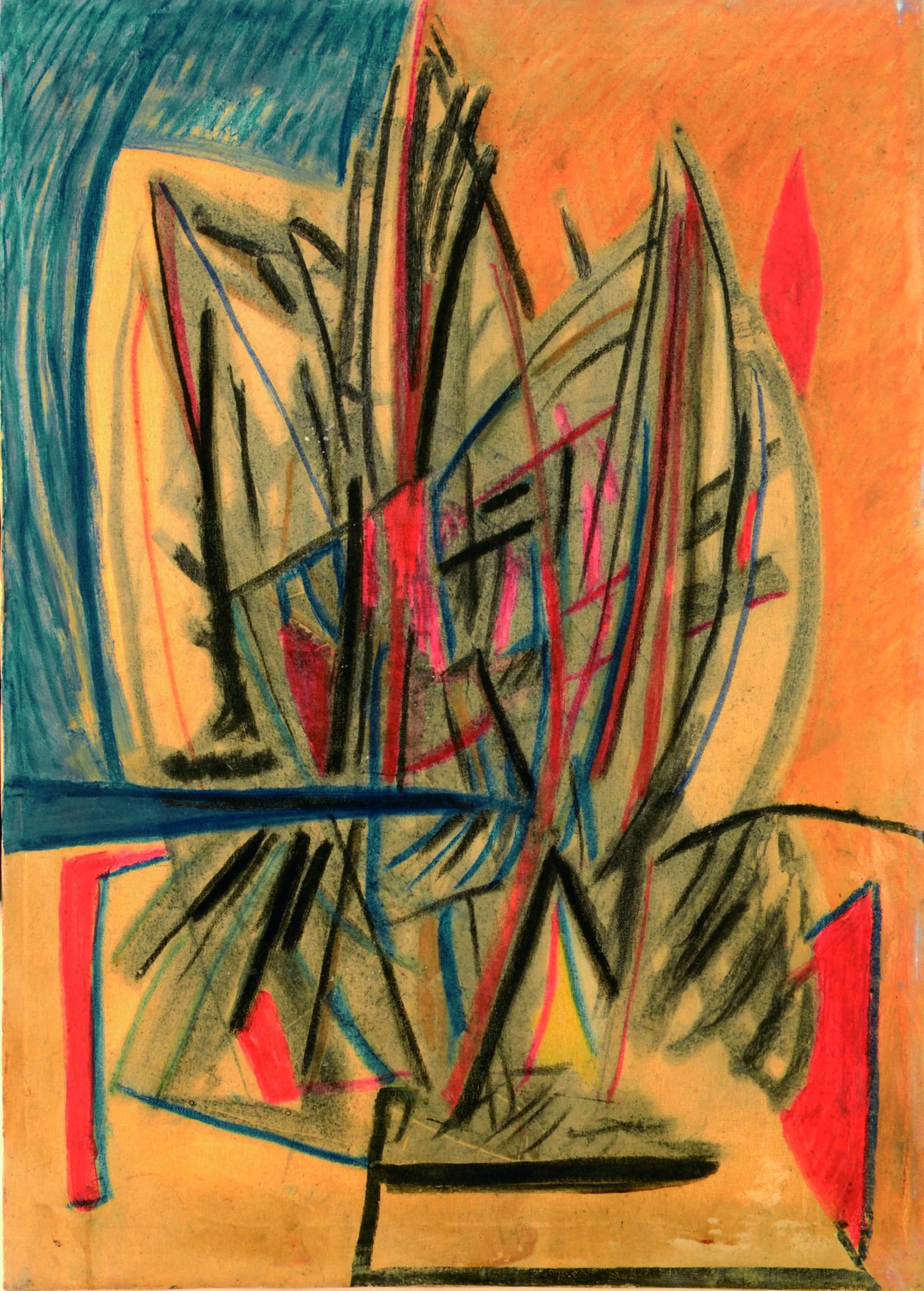 13 Senza titolo 1980ca tecnica mista su tela cm 70 x 50