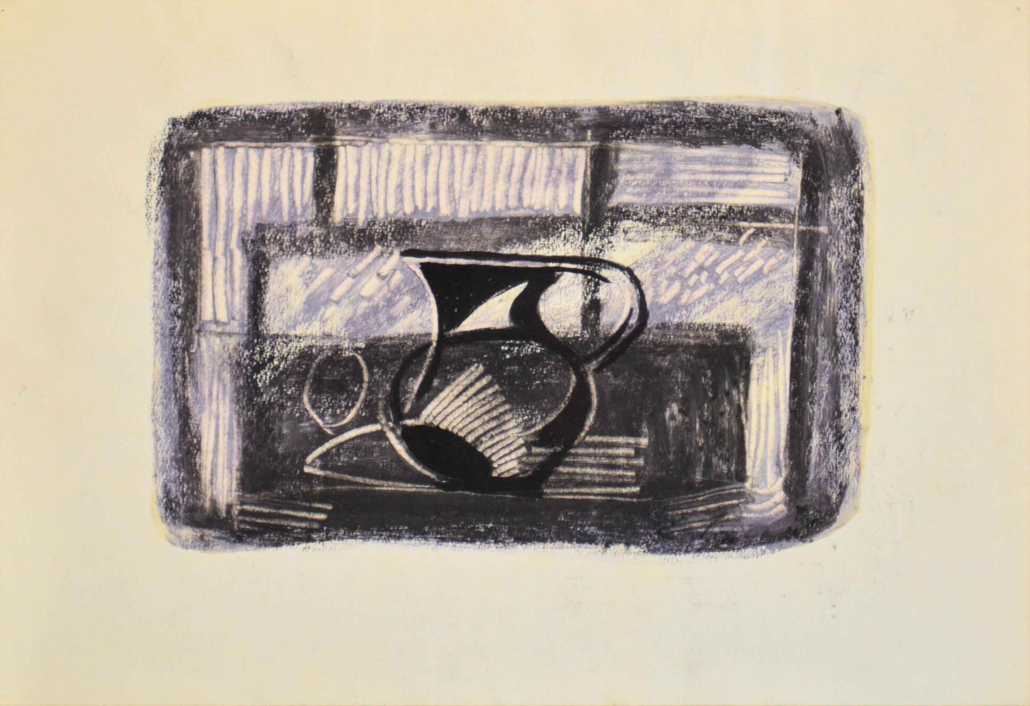 13. Natura morta anni 50 matita su carta cm 50x45