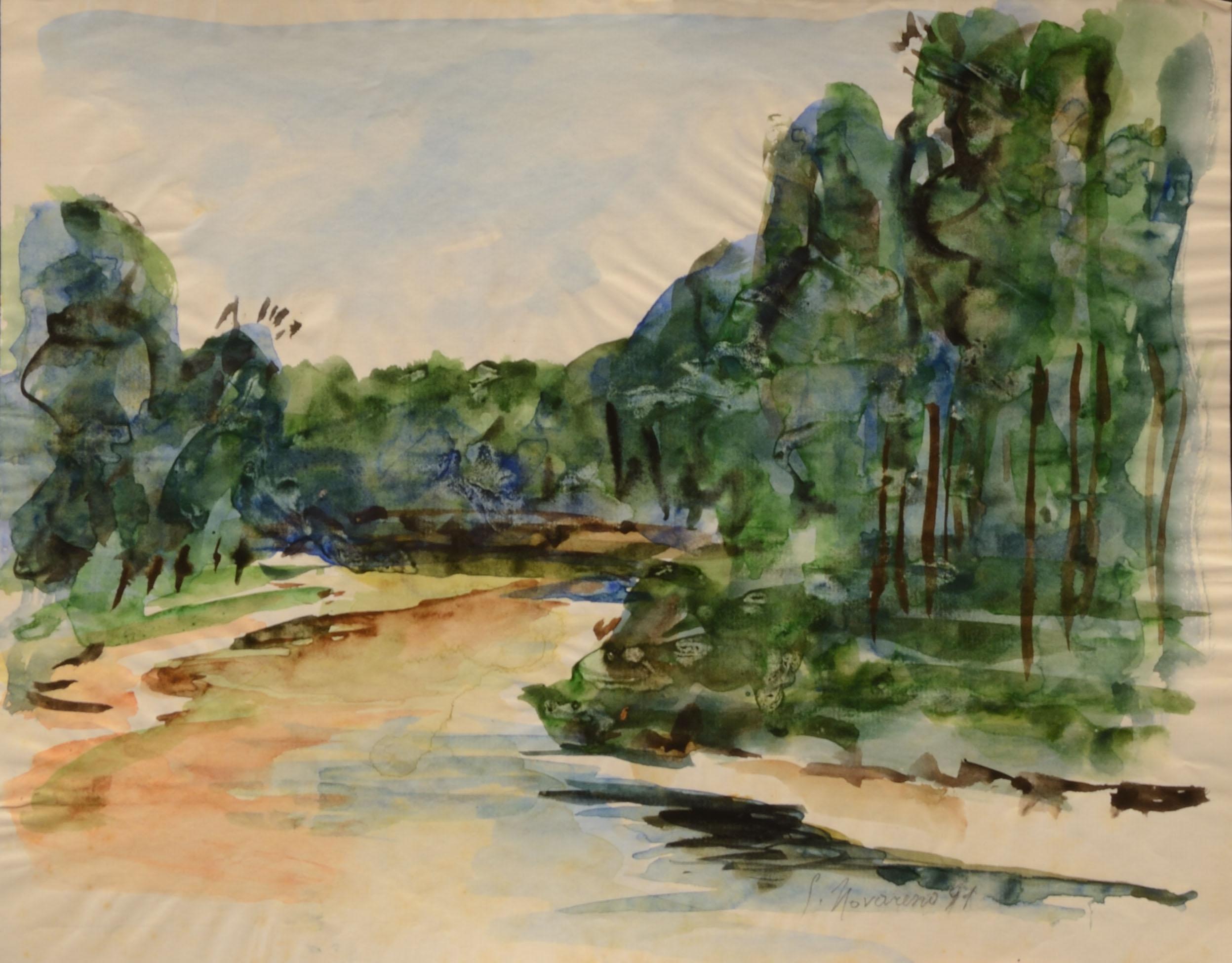 15. Paesaggio anni 70 acquarello su carta cm 45x30
