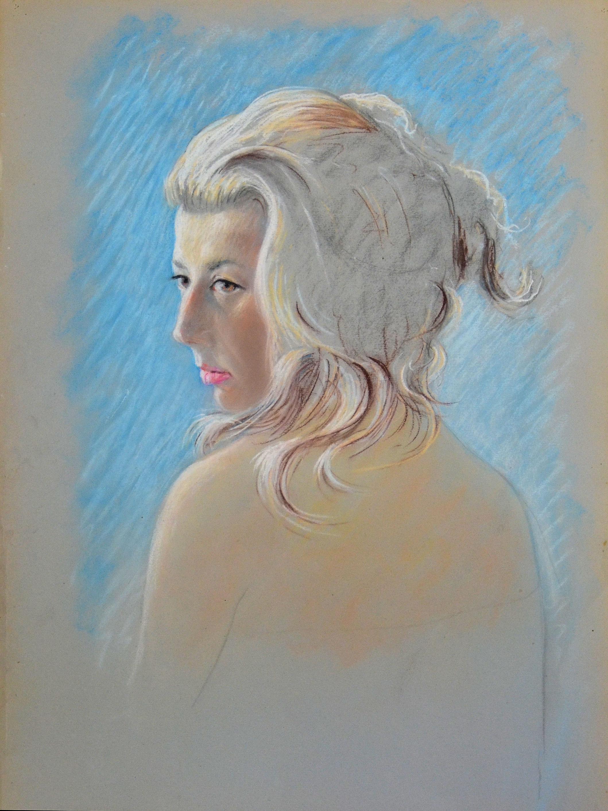 8. Ritratto di donna anni 60 pastello su carta cm 50x70