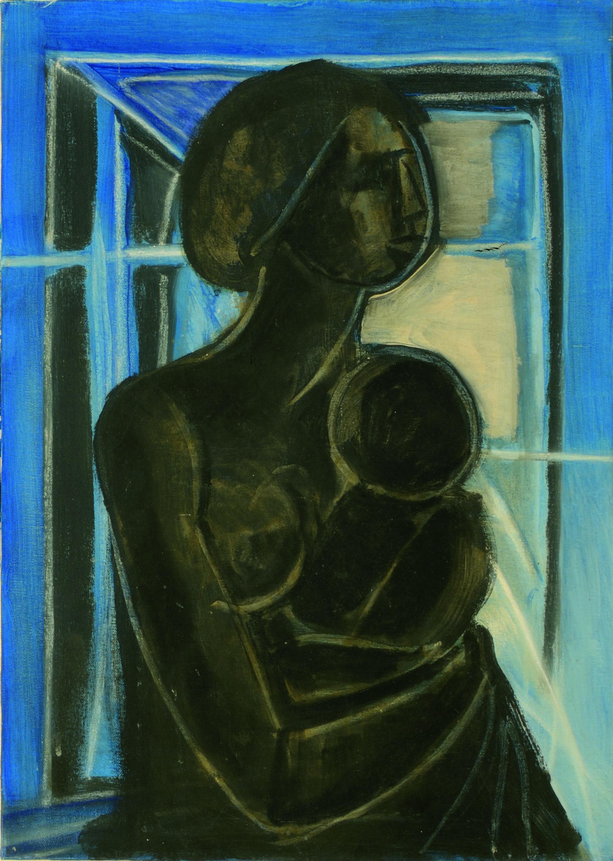 13 Maternità blu 1970 ca olio su tela cm 70 x 50
