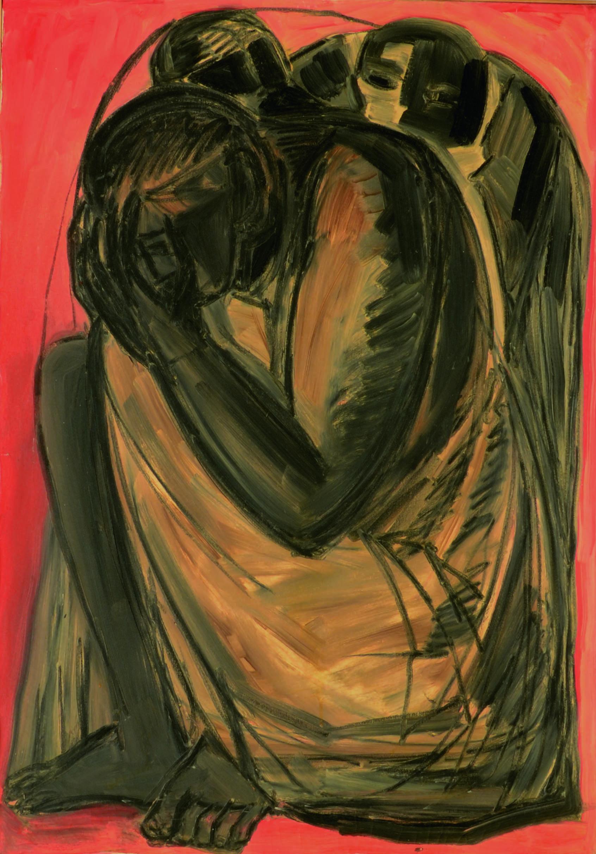 14 Figura anni 60 olio su tela cm 100 x 70