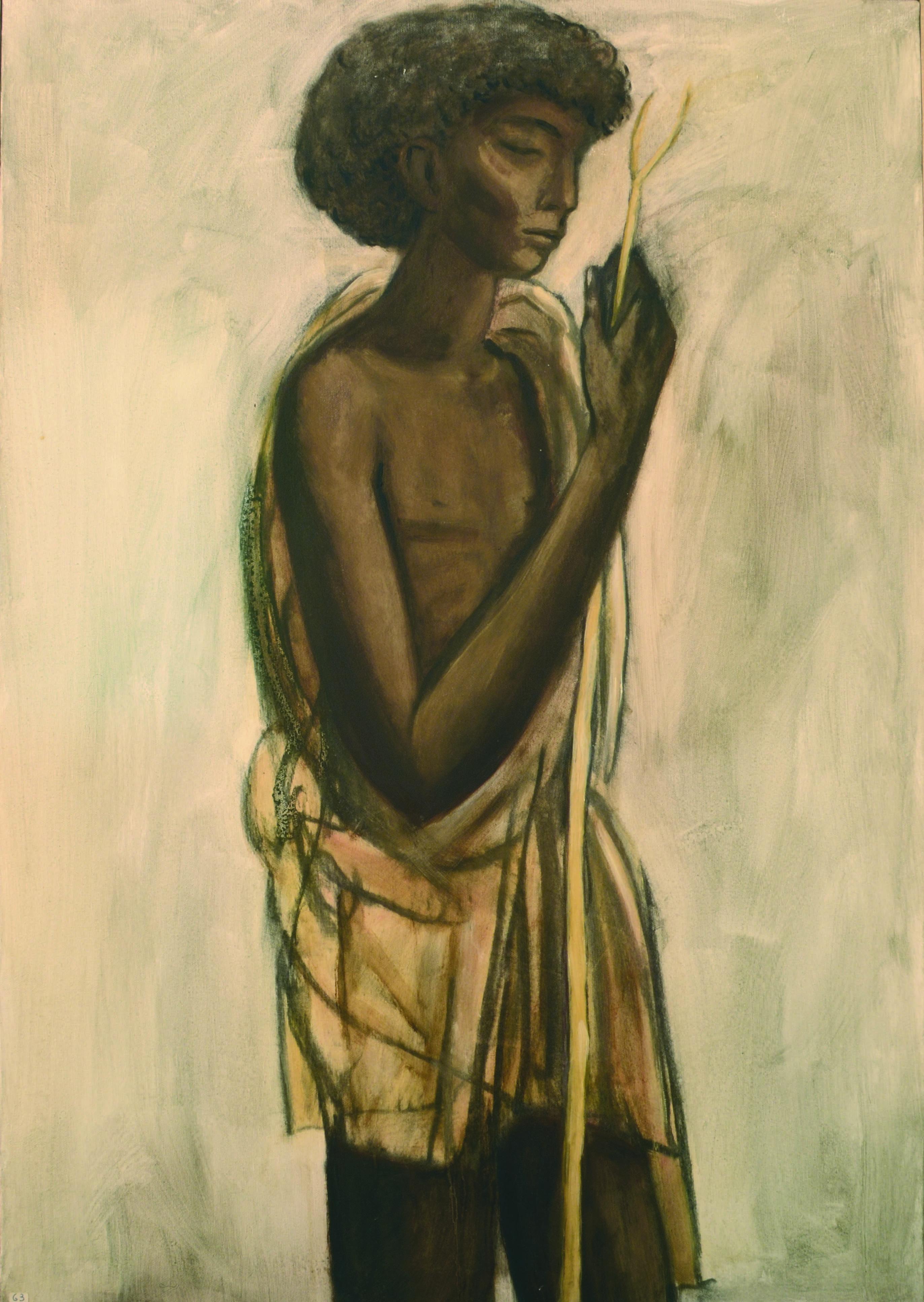 15 Pastore somalo 1980 ca olio su tela cm 100 x 70 1