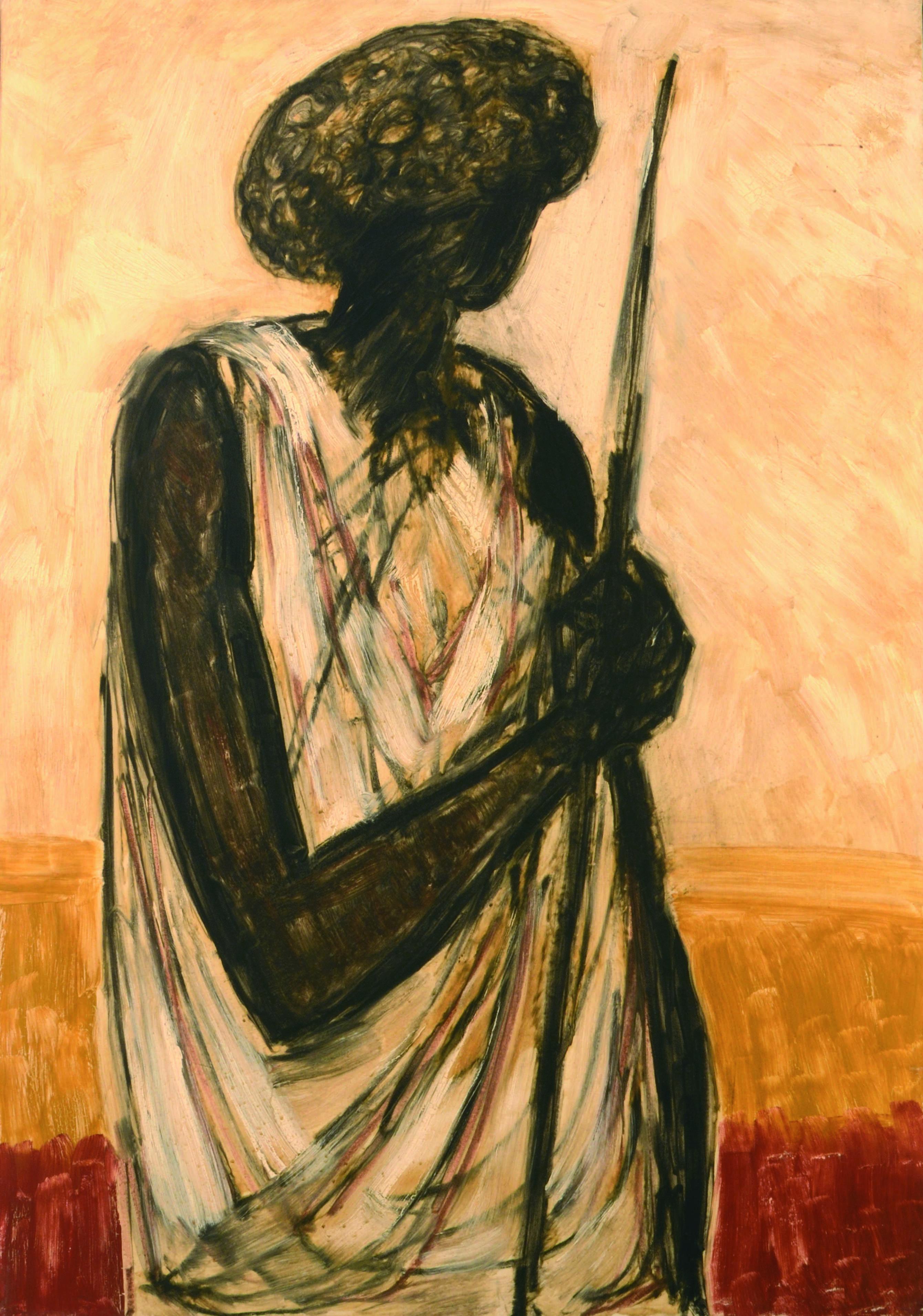 8. Guerriero somalo 1980 ca olio su tela cm 100 x 70 1
