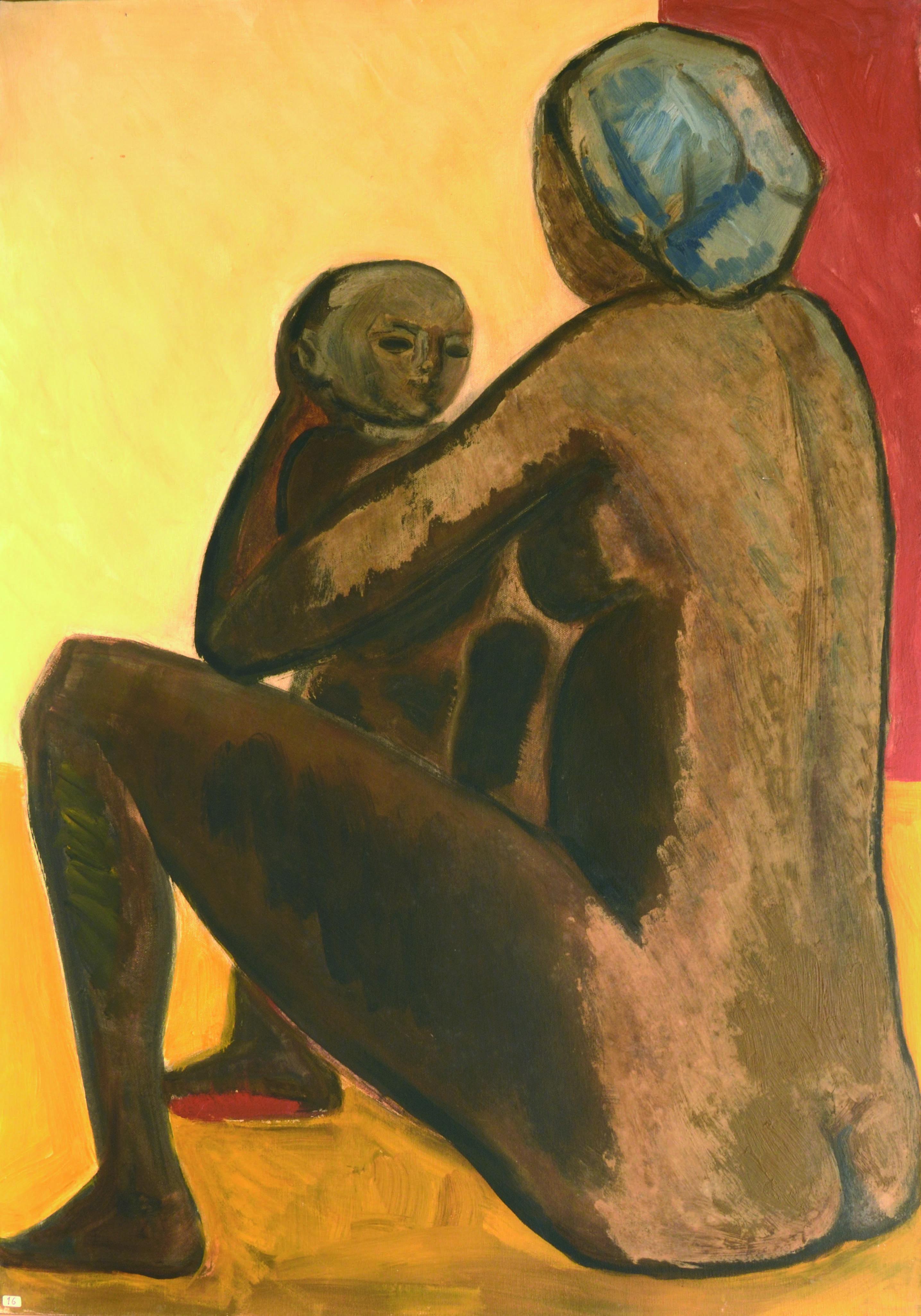 9. Madre con figlio 1969 70. olio su tela cm 100 x 70